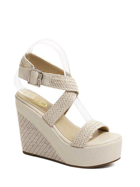 affordable Weaving Cross-Strap Wedge Heel Sandals - APRICOT 36 Mobile
