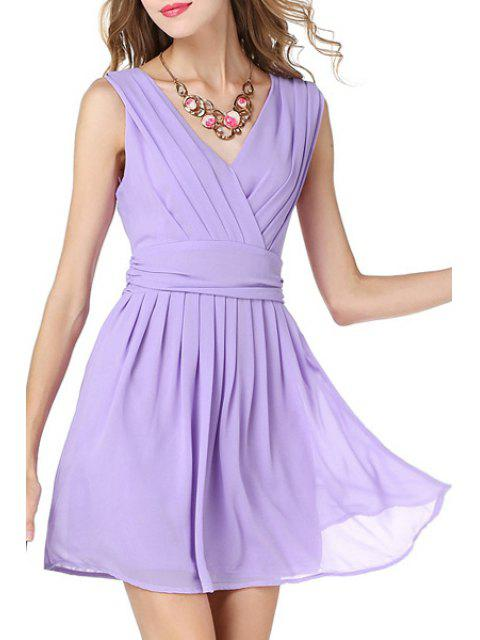 womens Solid Color V-Neck Sleeveless Waisted Dress - LIGHT PURPLE XL Mobile