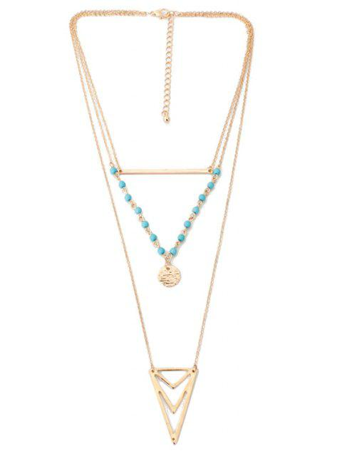 womens Triangle Multi-Layered Necklace - GOLDEN  Mobile