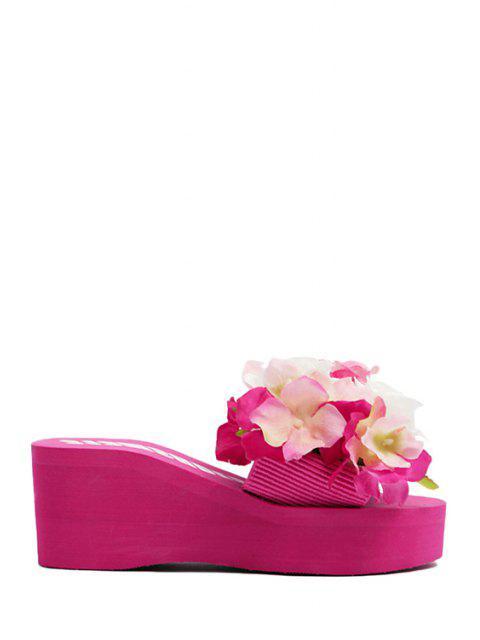fancy Flowers Elastic Platform Slippers -   Mobile
