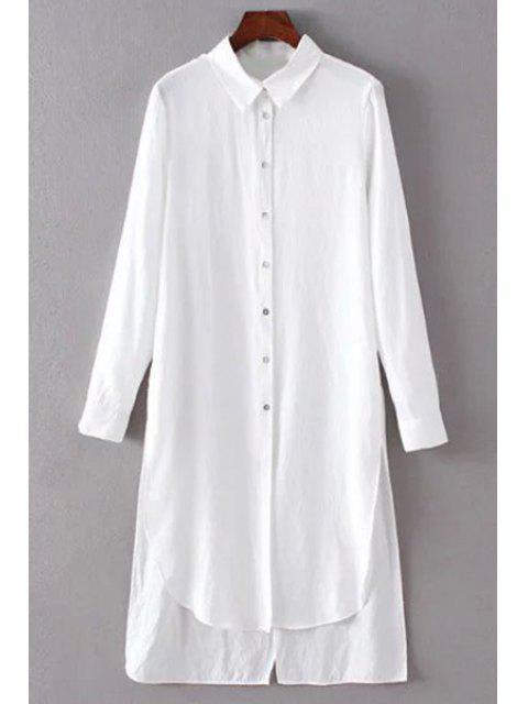 Solid Color-Seiten-Schlitz-Hemd-Kragen Langarm-Shirt - Weiß M Mobile