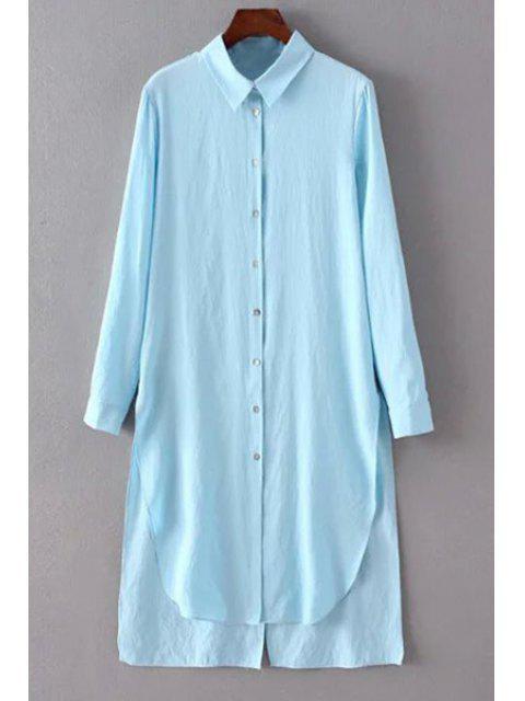 Solid Color-Seiten-Schlitz-Hemd-Kragen Langarm-Shirt - Hellblau M Mobile