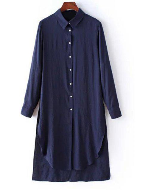 ladies Solid Color Side Slit Shirt Collar Long Sleeve Shirt - PURPLISH BLUE S Mobile