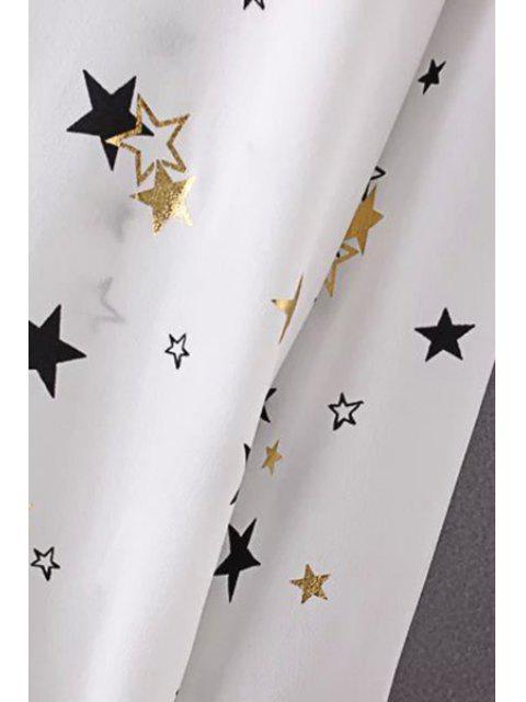 Etoiles lâches Imprimer col rabattu manches longues en mousseline de soie shirt - Noir M Mobile