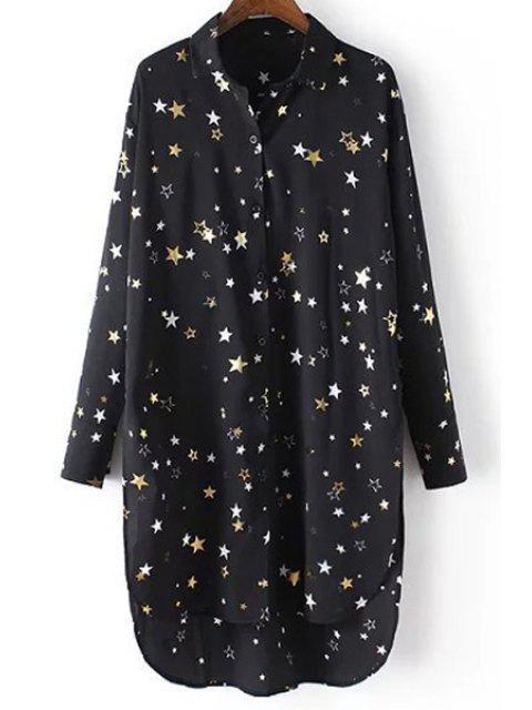 Estrellas de la impresión floja Turn-Down cuello manga larga camisa de la gasa - Negro S Mobile