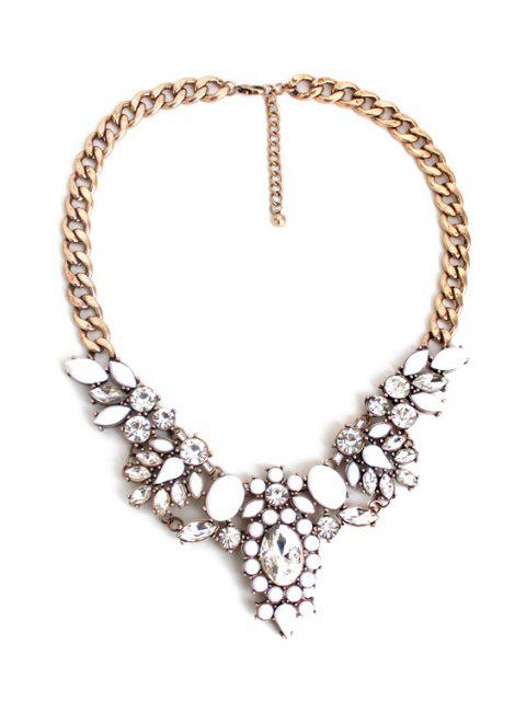 Superbe Faux Collier floral en cristal - Or  Mobile