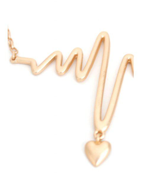 fancy Electrocardiogram Heart Shape Necklace -   Mobile