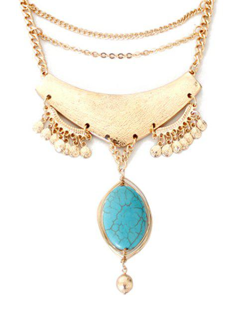 trendy Oval Faux Turquoise Pendant Necklace - GOLDEN  Mobile