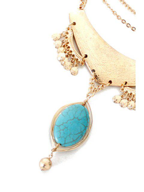 Ovale Turquoise Collier Goutte - d'or  Mobile