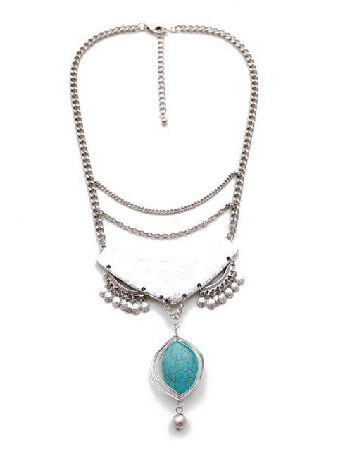 Ovale Turquoise Collier Goutte - Or Blanc  Mobile