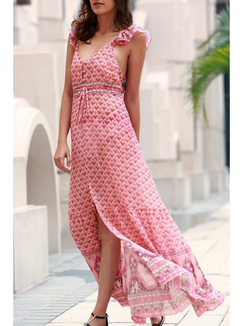 best Tiny Floral Ruffle Strap Flowing Dress - PINK L Mobile