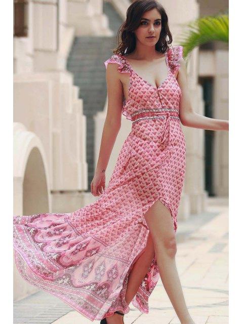 Robe Légère à Petites Fleurs Volanté avec Laçages - Rose  XL Mobile