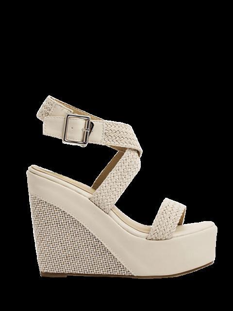 buy Weaving Cross-Strap Wedge Heel Sandals - APRICOT 35 Mobile