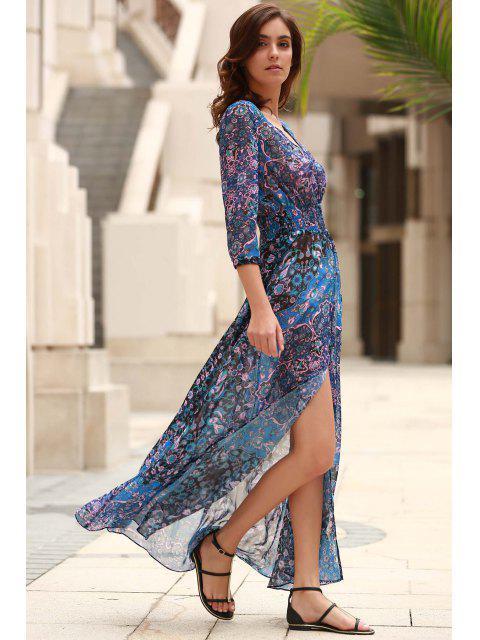 best V-Neck Single-Breasted Maxi Dress - BLUE S Mobile