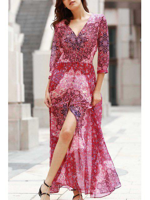 Maxi robe col V à boutons - Rouge XL Mobile