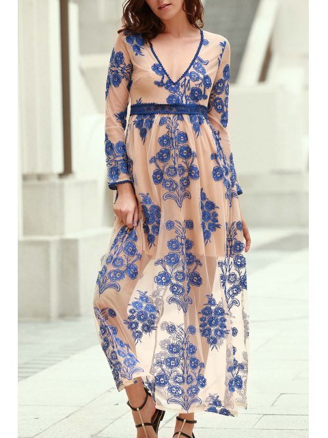 online Floral Embroidery Plunging Neckline Maxi Dress - BLUE L Mobile
