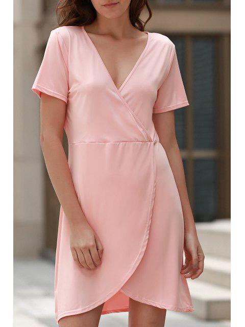 womens Solid Color Irregular Hem V Neck Tulip Dress - PINK M Mobile