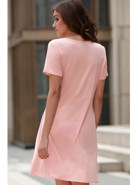 buy Solid Color Irregular Hem V Neck Tulip Dress - PINK S Mobile