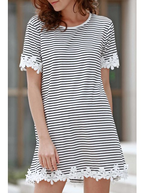 trendy Trimming Striped Short Sleeve T-Shirt Dress - WHITE M Mobile