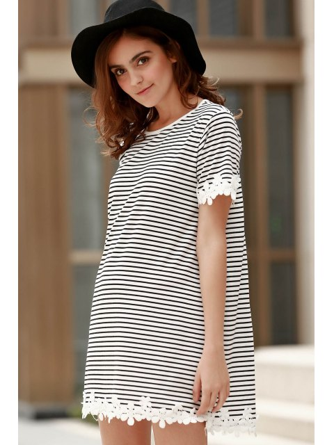 latest Trimming Striped Short Sleeve T-Shirt Dress - WHITE S Mobile