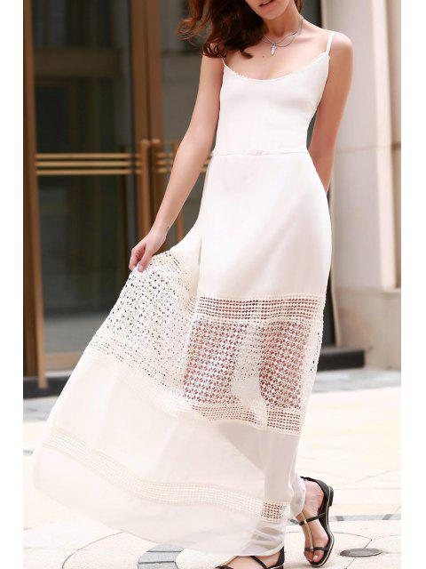 Vestido Maxi de Tirante Fino con Empalme de Encaje - Blanco L Mobile