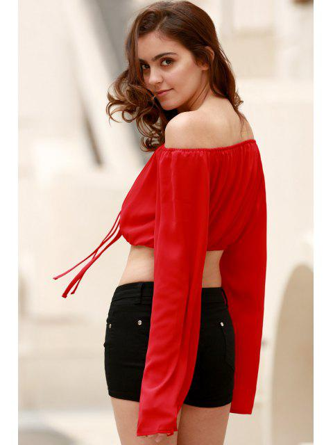fashion Off The Shoulder Boat Neck Puff Sleeve Chiffon Crop Top - RED M Mobile