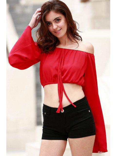 Off The Shoulder à encolure bateau manches bouffantes en mousseline de soie Crop Top - Rouge M Mobile