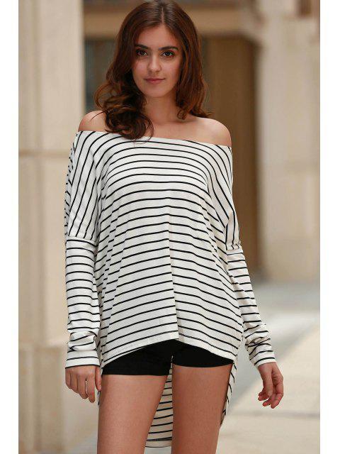 fashion Striped Open Back Jewel Neck Bat-Wing Sleeve T-Shirt - BLACK 2XL Mobile