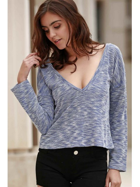 latest Draped Sleeve Knit T-Shirt - BLUE XL Mobile
