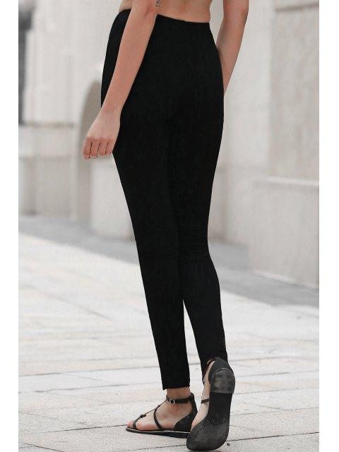 latest PU Leather Spliced Black Leggings - BLACK XL Mobile