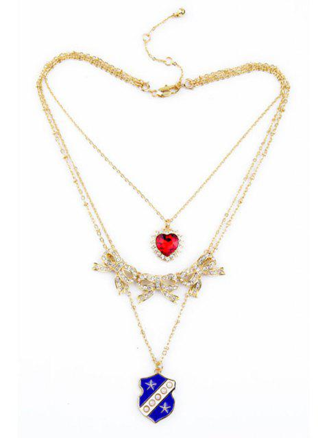 chic Chic Multi-Layered Bowknot Heart Necklace - GOLDEN  Mobile