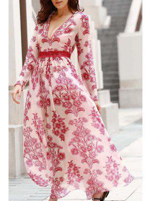 Vestido Largo Con Estampado Floral Con Cuello En V Larga - Rojo Con Blanco L