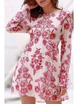 Vintage Floral High-Waisted Dress - Pink L