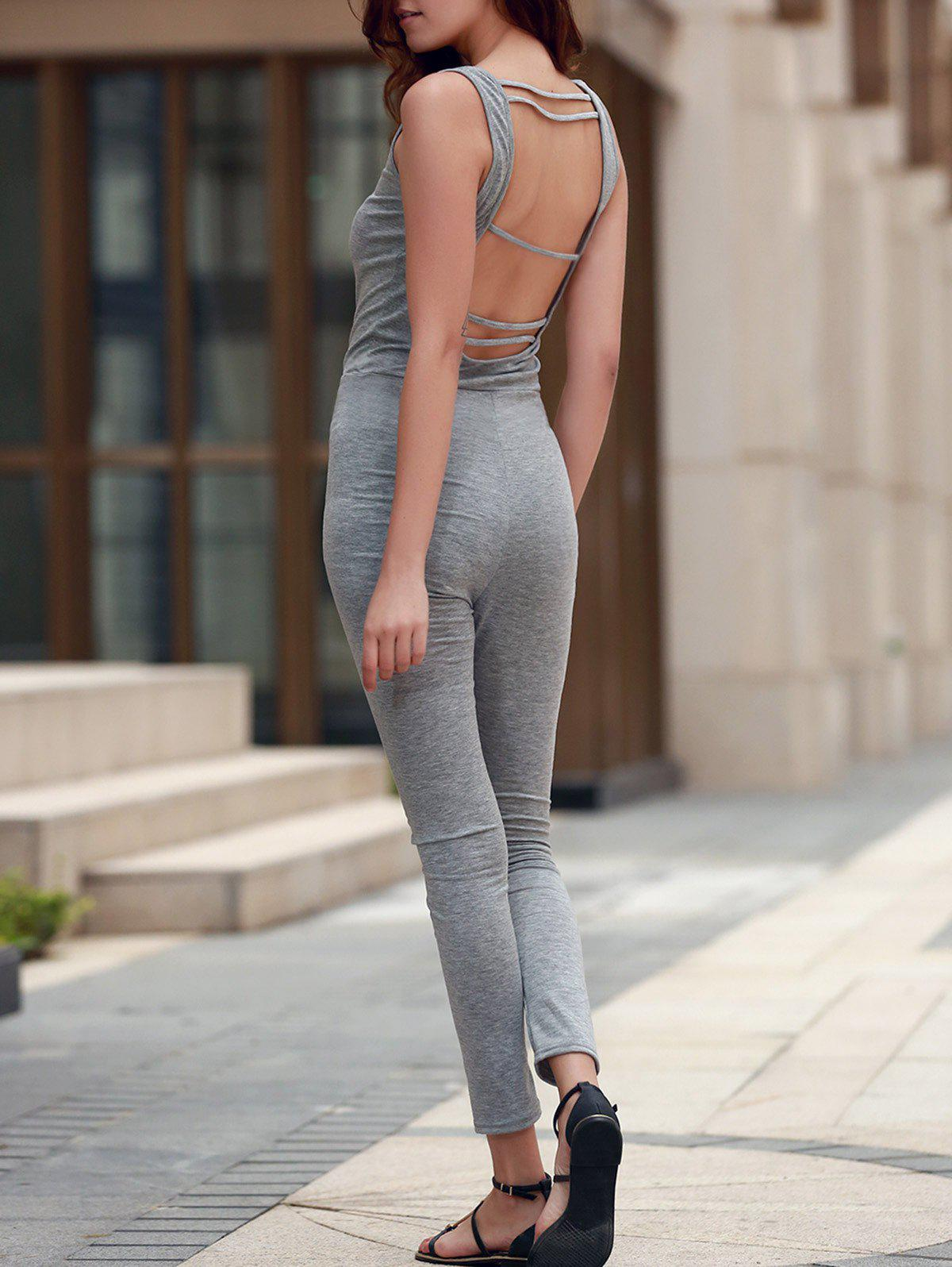 U Neck Sleeveless Open Back Jumpsuit 173518904