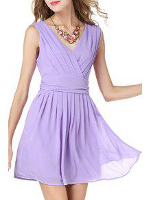 Solid Color V-Neck Sleeveless Waisted Dress - Light Purple Xl
