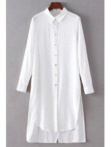 Solid Color Side Slit Shirt Collar Long Sleeve Shirt - White S
