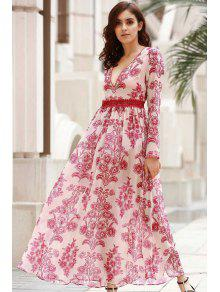 f7ee8f46fec9 28% OFF] 2019 Deep V Neck Flower Print Long Dress In RED WITH WHITE ...