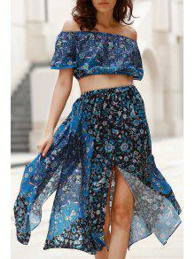 Buy Off-The-Shoulder Crop Top + Printed Midi Skirt Twinset - BLUE L