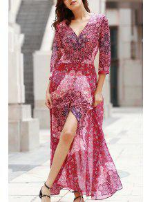 V-Neck Single-Breasted Maxi Dress - Red Xl