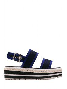 Buy Color Block Cloth Platform Sandals - BLUE 39