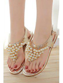 Faux Pearls Flat Heel Sandals - Pink 37 clearance official site cheap for cheap visit sale online clearance perfect wG18kM