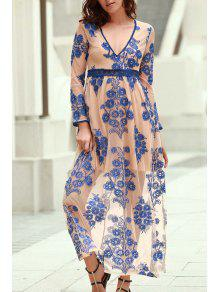 Floral Embroidery Plunging Neckline Maxi Dress - Blue L