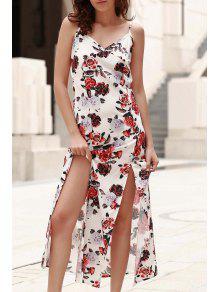 Combinado Cordón Floral De Impresión Vestido Maxi - Blanco S