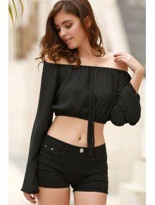 8dc0f4929a2 59% OFF] 2019 Off The Shoulder Boat Neck Puff Sleeve Chiffon Crop ...
