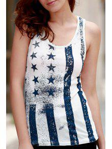 Ombre Star Print Scoop Neck Sleeveless Tank Top - White M