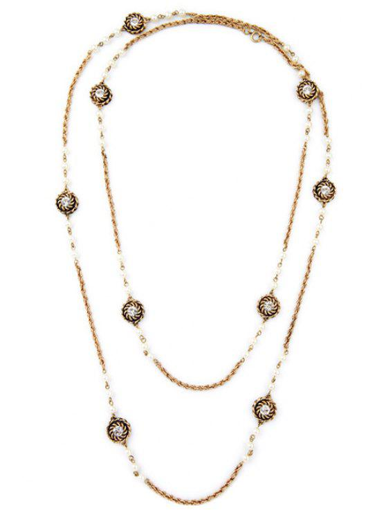 latest Fashionable Alloy Floral Necklace - GOLDEN