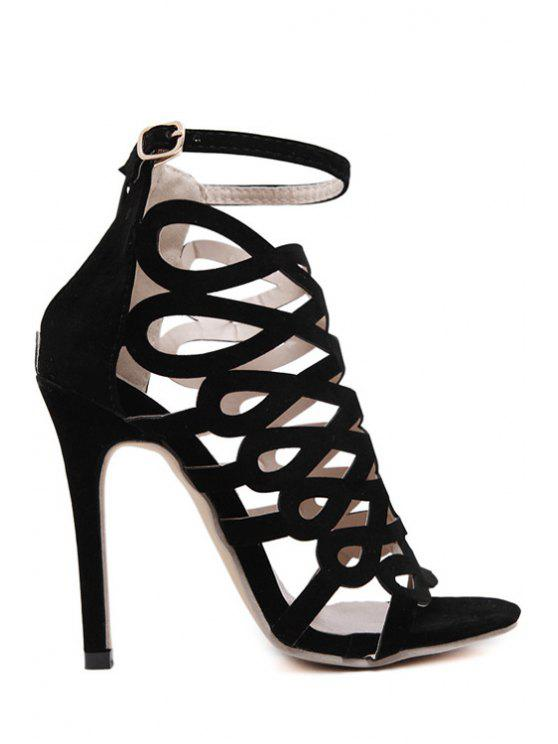 chic Solid Color Hollow Out Stiletto Heel Sandals - BLACK 36