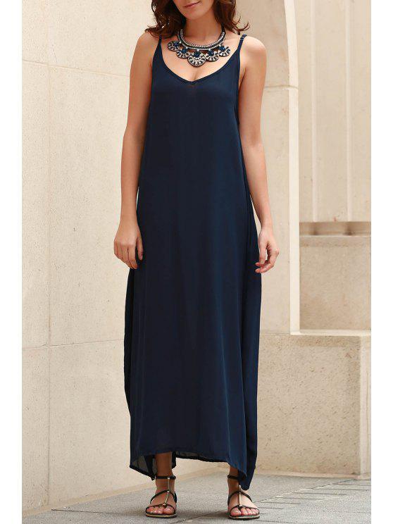 affordable Spaghetti Strap Loose Fit Maxi Dress - BLUE M