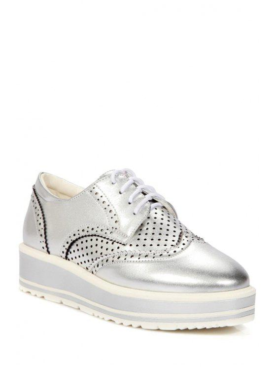 affordable Openwork Engraving Lace-Up Platform Shoes - SILVER 34