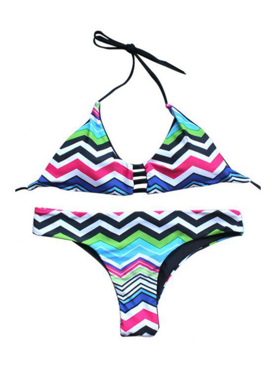 Zig Zag Imprimer Cami Bikini - Multicolore S